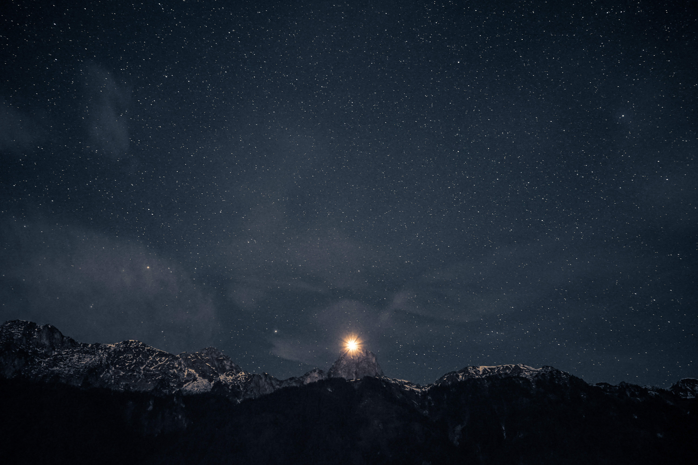 Starry Night Sky with Bright Star